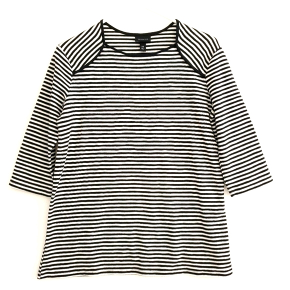 Who What Wear Black and White Textured Striped Tee